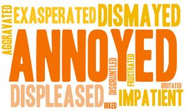 Annoyed Word Cloud. On a white background Royalty Free Stock Photography