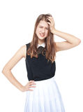Annoyed young fashion teenage girl isolated Royalty Free Stock Images