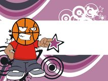 Annoying Basketball kid head cartoon background Royalty Free Stock Photo