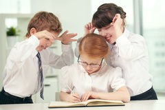 Annoying classmates Royalty Free Stock Images