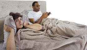 Annoying Gamer Boyfriend Royalty Free Stock Photos