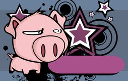 Annoying Little big head pig cartoon background Stock Photos