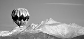Hot Air Balloon over Longs Peak stock photo