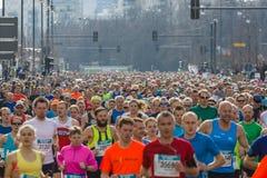 The annual Berlin Half Marathon. Berlin. Germany. BERLIN - APRIL 03, 2016: The annual Berlin Half Marathon. Race through the city streets stock photography