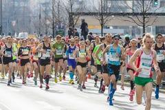 The annual Berlin Half Marathon. Berlin. Germany. BERLIN - APRIL 03, 2016: The annual Berlin Half Marathon. Race through the city streets royalty free stock photo