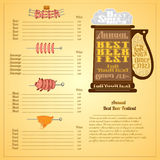 Annual Best festival lettering on mug silhouette. Menu color background with price and labels of meals. Stock Photos