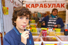 Annual biggest autumn honey fair in Moscow, Russia stock photography