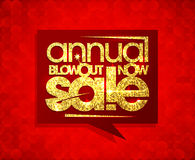 Annual blowout sale now, speech bubble design. Royalty Free Stock Photos
