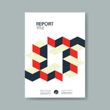 Annual business report cover template with modern material design isometric cubes style vector background. Stock Image