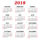 Annual calendar 2018 Stock Images