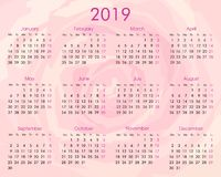 2019 annual calendar on the rose royalty free illustration