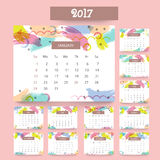 Annual Calendar design for 2017. Annual Calendar design with colorful brush strokes for New Year 2017 Stock Photography