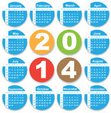 Annual calendar design for 2014. English, Eps10, Sunday to Saturday stock illustration