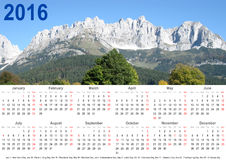 Annual calendar 2016 mountain landscape and holidays USA. Annual calendar 2016 with mountain landscape above and public holiday markings for the USA Vector Illustration