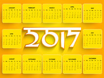 Annual Calendar of New Year 2017. Annual Calendar design for New Year 2017, Set of 12 months template Stock Images
