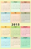Annual 2015 Calendar. Plain and colorful annual calendar for 2015, weeks starts on Sunday Stock Images