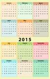 Annual 2015 Calendar. Plain and colorful annual calendar for 2015, weeks starts on Sunday vector illustration