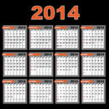 2014 calendar. A 2014 annual calendar template for your design and projects,isolated on black background. The months are divided into tables. Weeks start on Royalty Free Stock Image