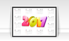 Annual Calendar of 2017 year. Annual Calendar design with 3D colorful text 2017 Royalty Free Stock Images