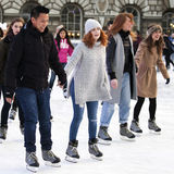 Annual Christmas Ice Rink at the Historic Somerset House. LONDON,UK-NOVEMBER 25: Skaters Beating the Winter Blues at the Annual Christmas Ice Rink at the Royalty Free Stock Photography