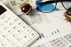 Annual Closing Calculator Glasses Royalty Free Stock Photography