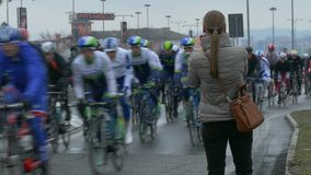Annual cycle race Milan–Sanremo  on March 22, 2015  in Voghera, PV, Italy. stock video footage