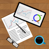 Annual economic report. Growth analyzing economy, vector illustration Stock Images