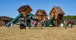 Annual Fall Festival. Blue Ridge, Virginia USA – September 30th: Children and adults enjoying the annual Fall Festival at Layman Family Farm located in royalty free stock photography