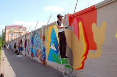 The annual festival of graffiti in St. Petersburg. Lastplak group Stock Photography