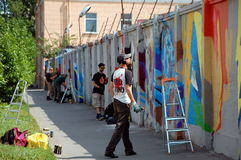 The annual festival of graffiti in St. Petersburg. Lastplak group Royalty Free Stock Images