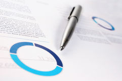 Annual financial report. And pen royalty free stock photos