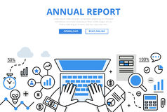Annual financial report  concept flat line art vector icons. Annual financial report concept flat line art vector icons. Hands working laptop calculator document Stock Photography