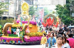 annual flower festival parade in Chiang Mai, Thailand royalty free stock photos