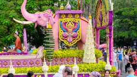Annual flower festival parade in Chiang mai, Thailand, a major cultural event in Southeast Asia.