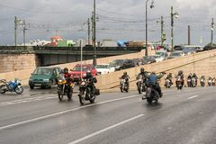 Bikers on the road. The annual Harley-Davidson Festival is held in the center of St. Petersburg Stock Image
