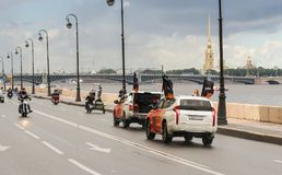 Escort cars accompanying the convoy. The annual Harley-Davidson Festival is held in the center of St. Petersburg Stock Image