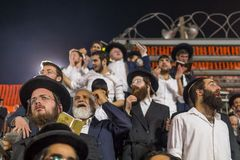Annual hillula of Rabbi Shimon Bar Yochai, in Meron 2018. MERON, ISRAEL - MAY 03, 2018: Orthodox Jewish men attend and dance, at the annual hillula of Rabbi Royalty Free Stock Image