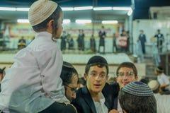 Annual hillula of Rabbi Shimon Bar Yochai, in Meron 2018. MERON, ISRAEL - MAY 03, 2018: Orthodox Jewish men attend and dance, at the annual hillula of Rabbi Stock Photo