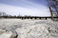 Ice Jams on the Mohawk River. Annual ice jams overflow the Mohawk River in Schenectady's region of Upstate New York Stock Images