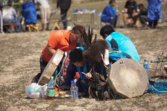 Annual international gathering of shamans on Lake Baikal, Olkhon Island. Stock Photos