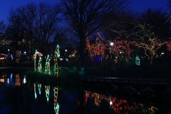 Annual Light Show in Lincoln Park, Chicago stock photography
