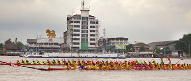 The annual longboat races. NONTHABURI, THAILAND - SEPTEMBER 16: The annual longboat races were arranged on 16-17 September 2012 at the Chow Proya river Stock Photo