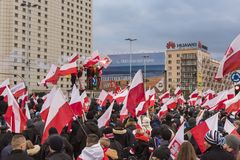 The annual march of Poland`s National Independence Day 2017. WARSAW, POLAND - NOVEMBER 11, 2017: The annual march of Poland`s National Independence Day  which Stock Photo
