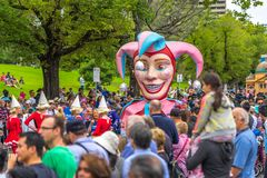 Melbourne, Australia - Mar 14, 2016: The annual Moomba parade on St Kilda road royalty free stock photography