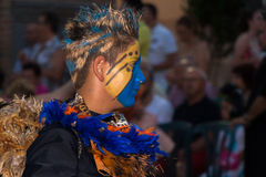 Annual Moors and Christians festival, boy painted Royalty Free Stock Photography