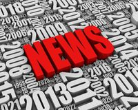 Annual News Events. NEWS 3D text surrounded by calendar dates. Part of a series Stock Photo