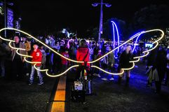 An annual outdoor lighting festival with paddle bicycle for lighting up the wings immersive light installations and projections. SYDNEY, AUSTRALIA. – On stock image
