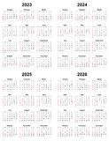 Annual plain calendar sunday first day 2023 2024 2025 2026. Isolated stock illustration