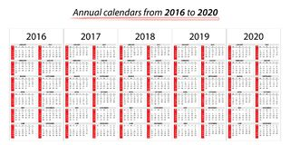 Annual planner calendar from 2016 to 2020 vector illustration