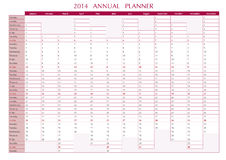 2014 Annual Planner. In english. 2014 Wall Calendar royalty free illustration